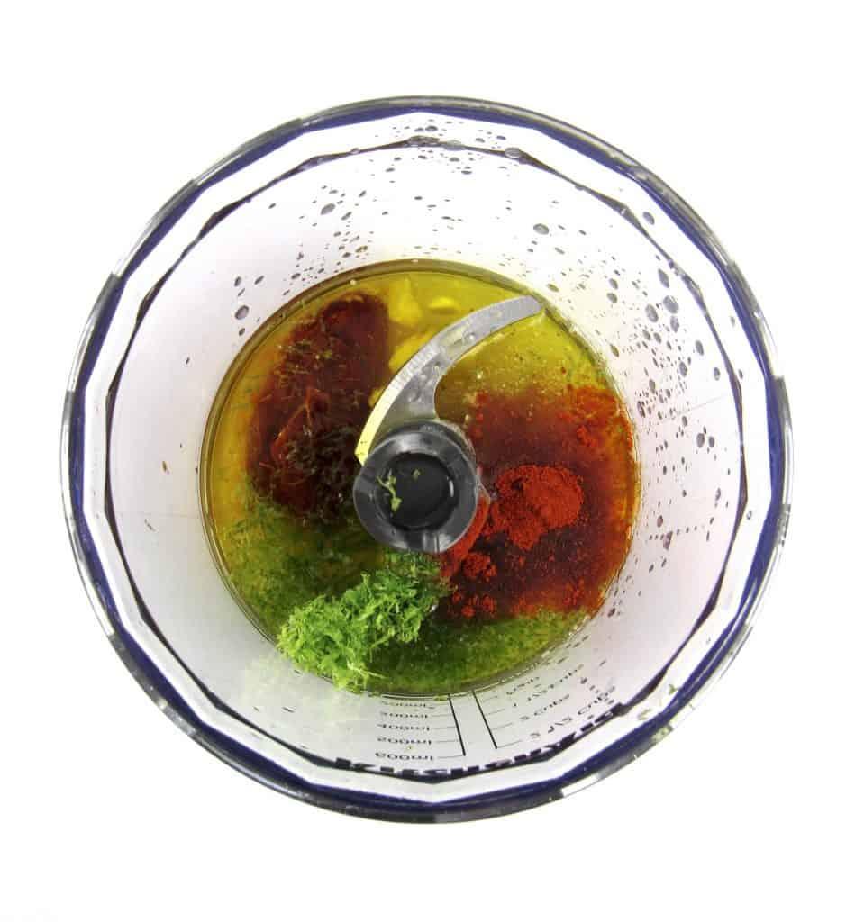 marinade ingredients in mini chopper bowl unmixed