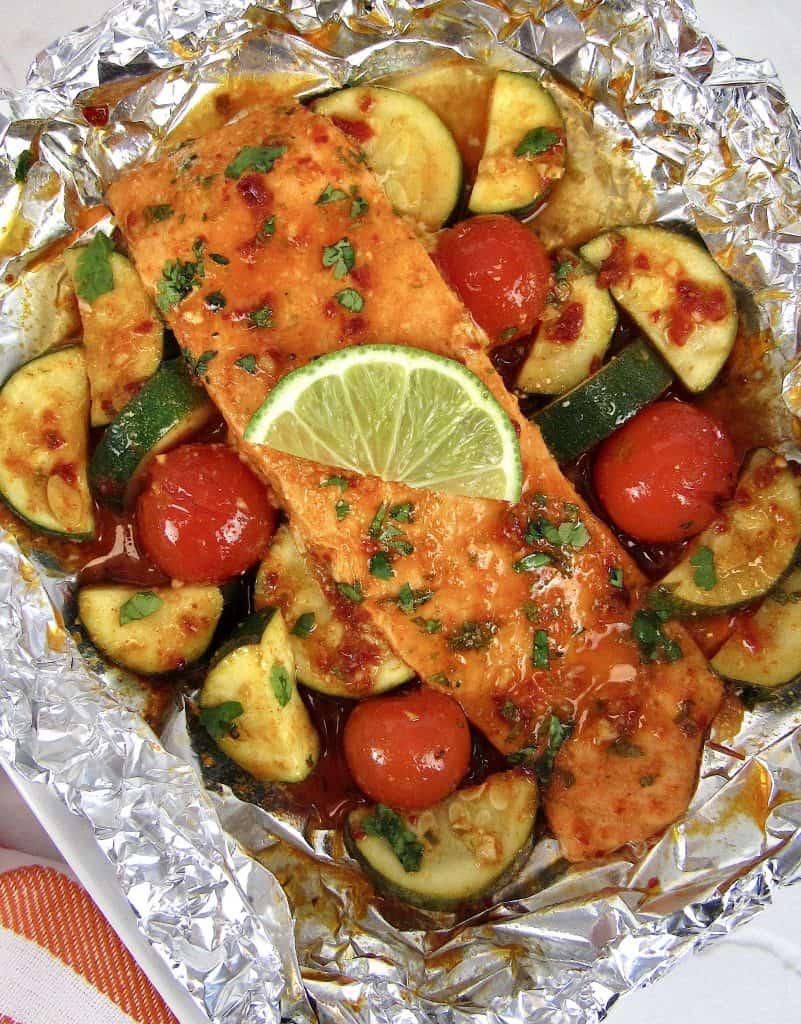 salmon and veggies in foil