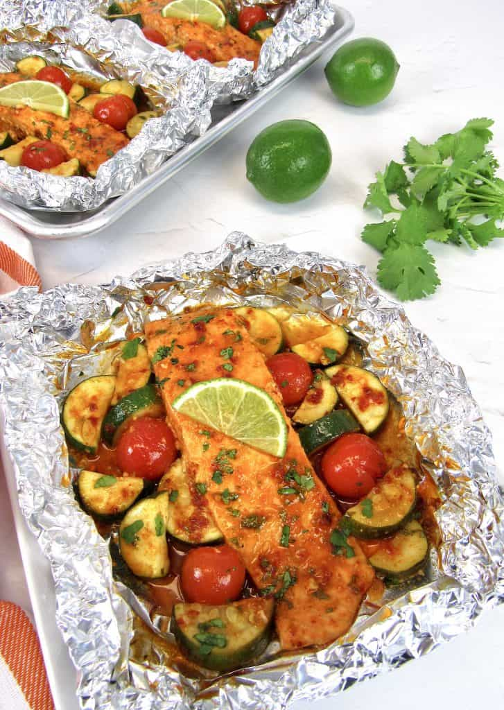 salmon and veggies in foil baked
