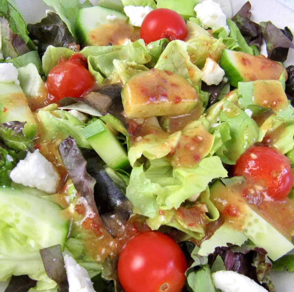 salad with chipotle lime vinaigrette on top