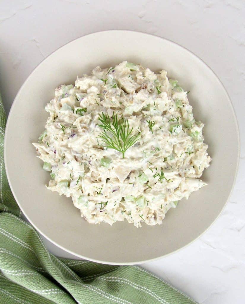 chicken salad in beige bowl