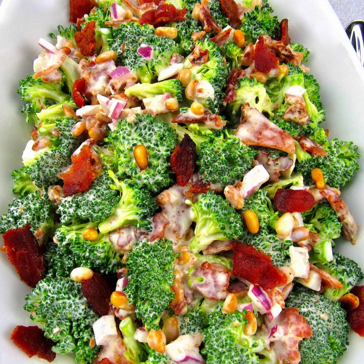 broccoli salad with bacon in white bowl