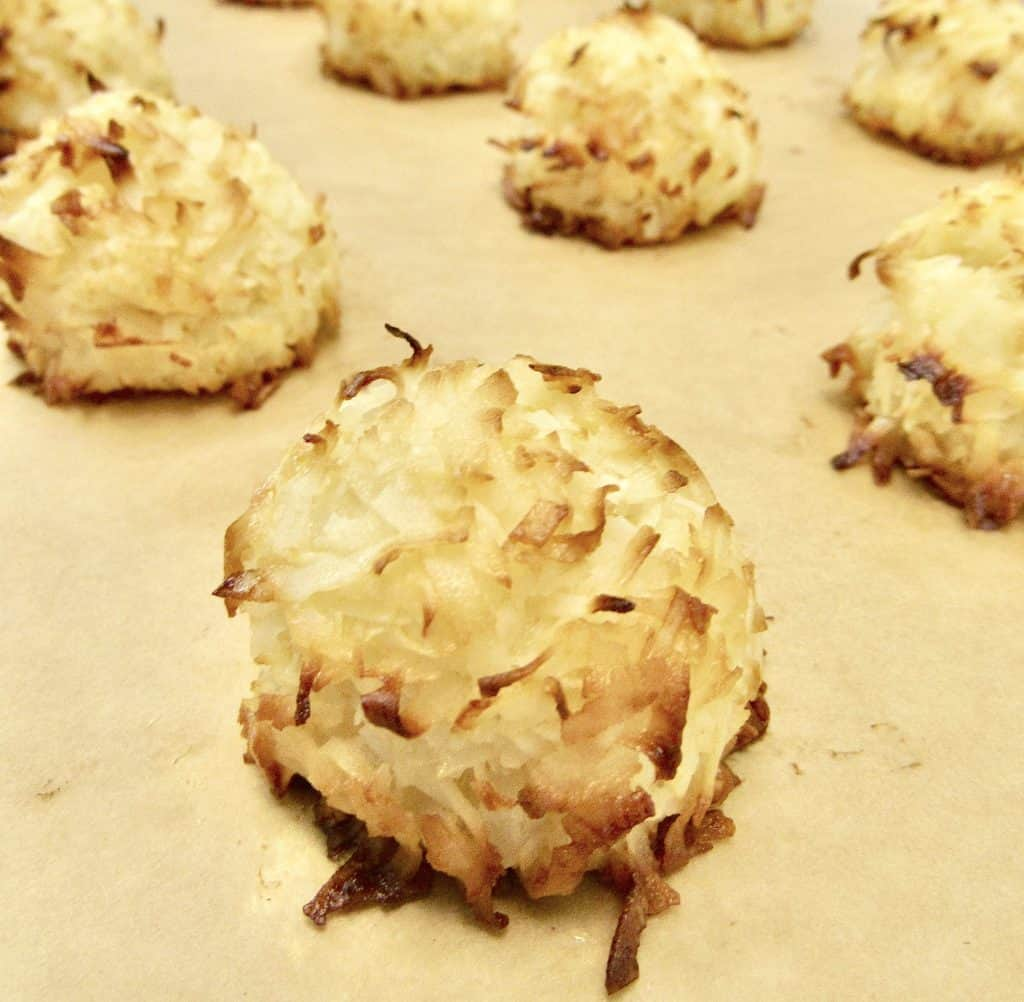 baked coconut macaroons on baking sheet