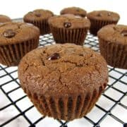 chocolate chocolate chip muffins on cooling rack