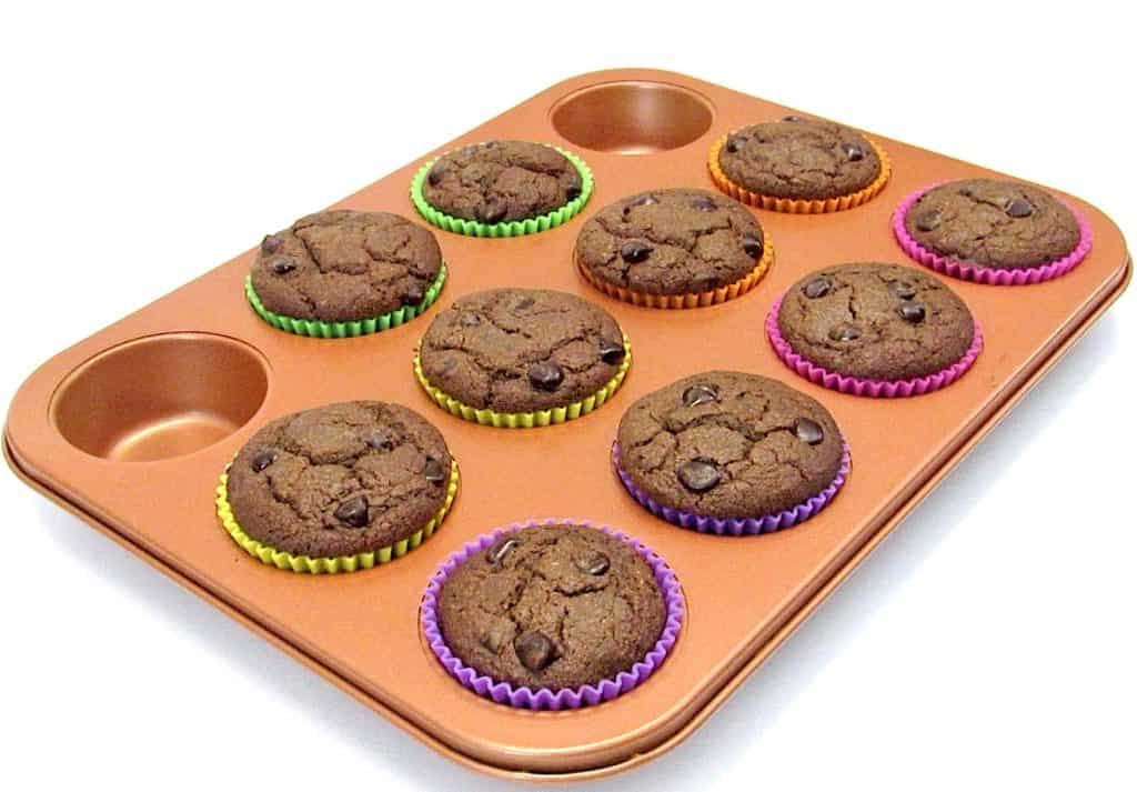 chocolate muffins baked in muffins pan