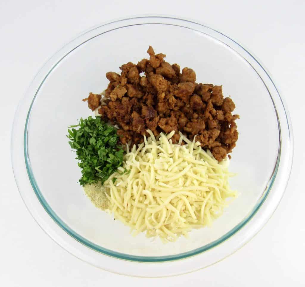 chorizo stuffing ingredients in glass bowl
