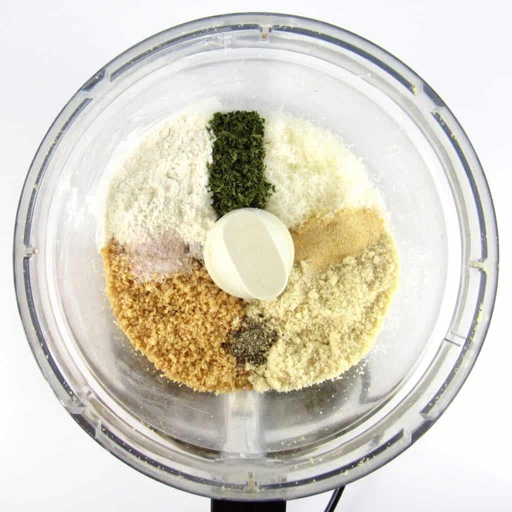 Keto Bread Crumbs ingredients in food processor bowl unmixed