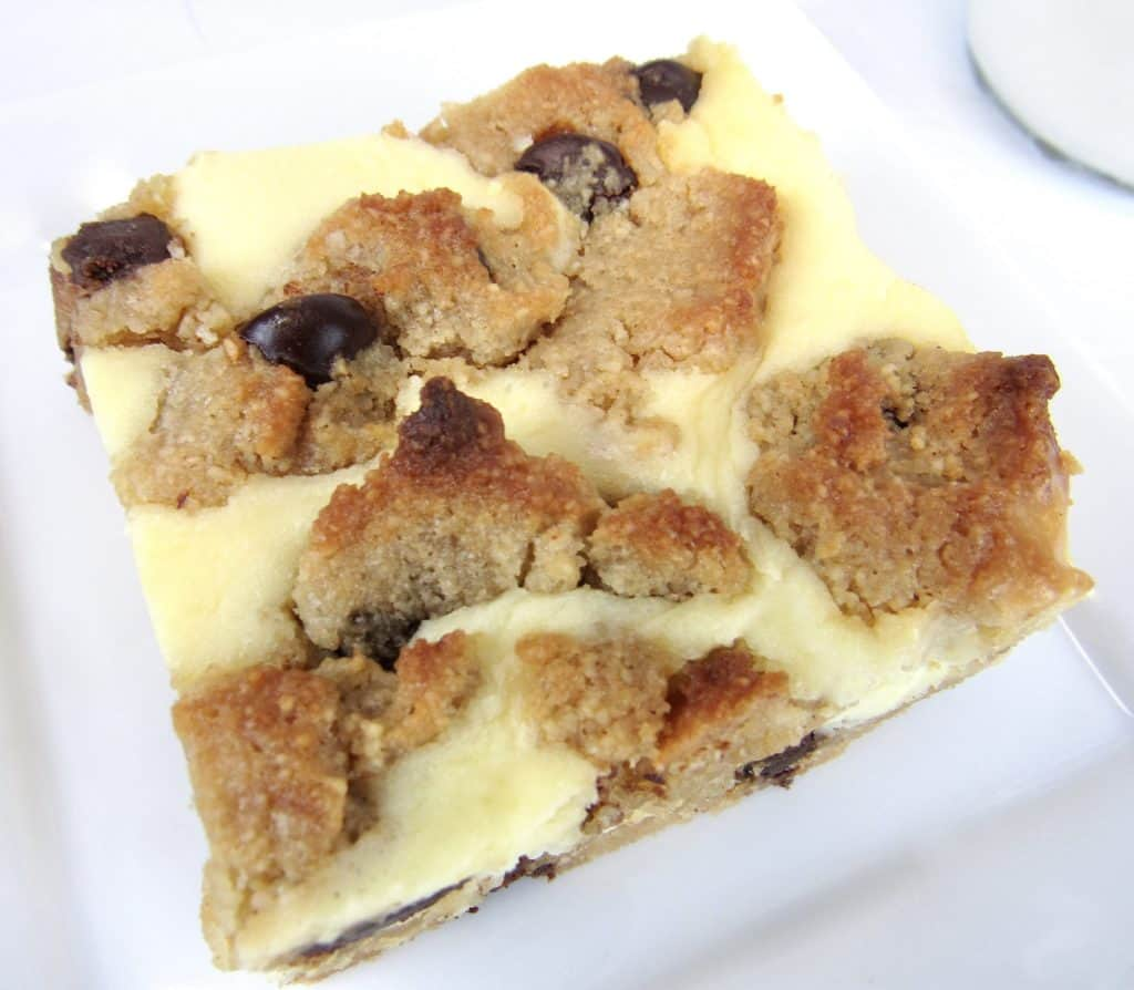 Chocolate Chip Cookie Bar on white plate