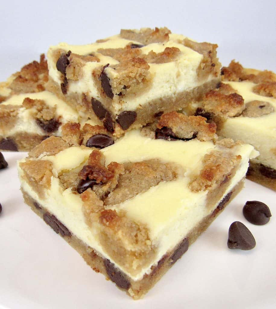 Chocolate Chip Cookie Bars stacked up on white platter