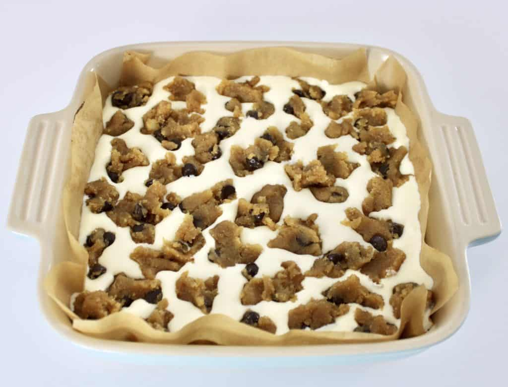 Chocolate Chip Cookie Bars batter in baking dish