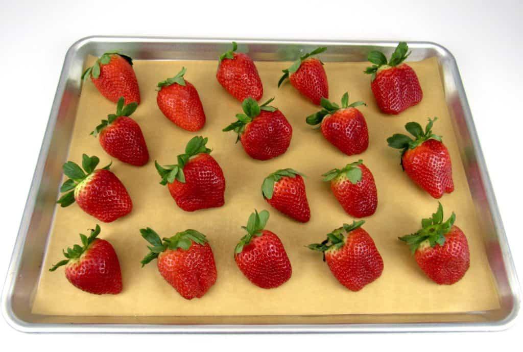 18 strawberries on sheet pan