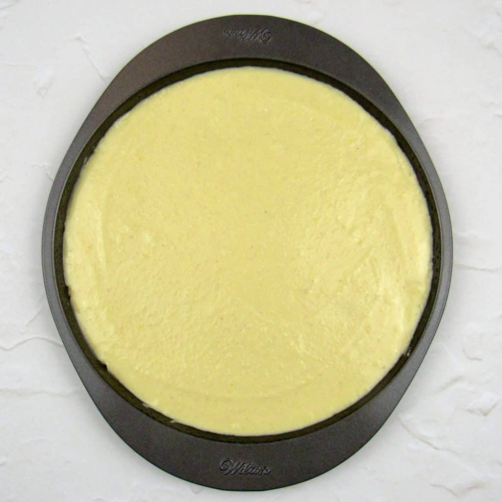 lemon cake batter in pan