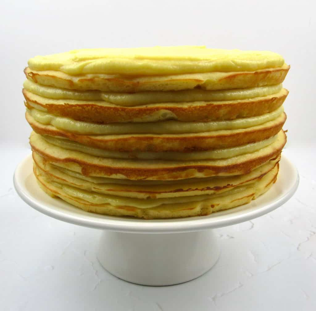 lemon layered cake with filling in between