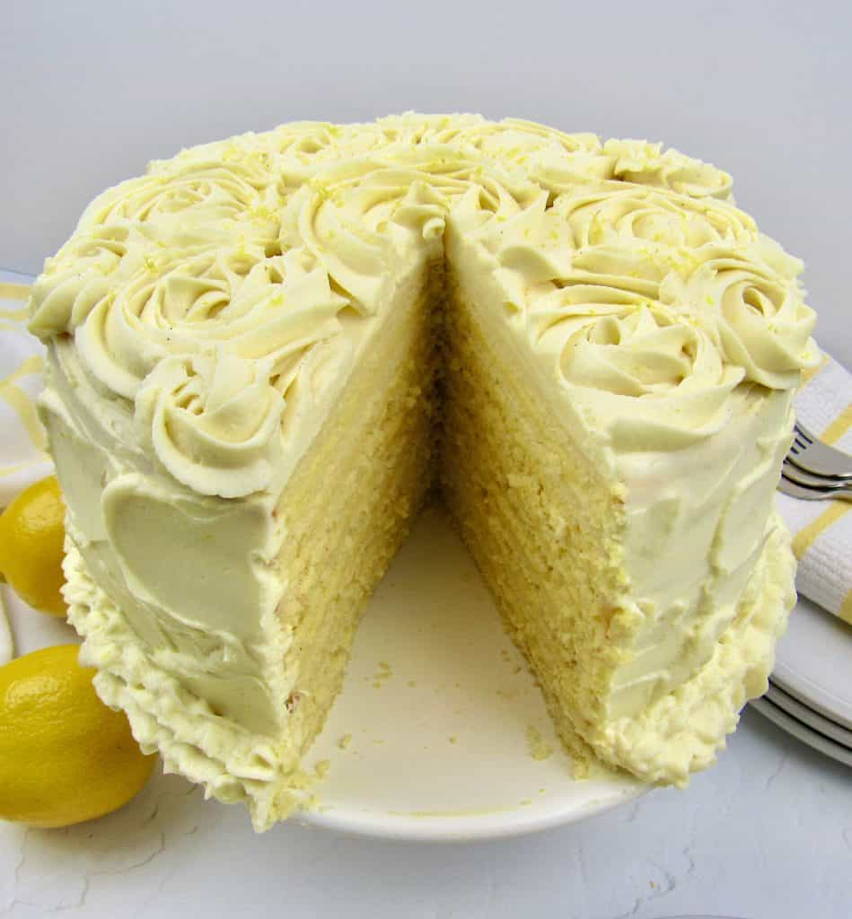 lemon cake with slice missing