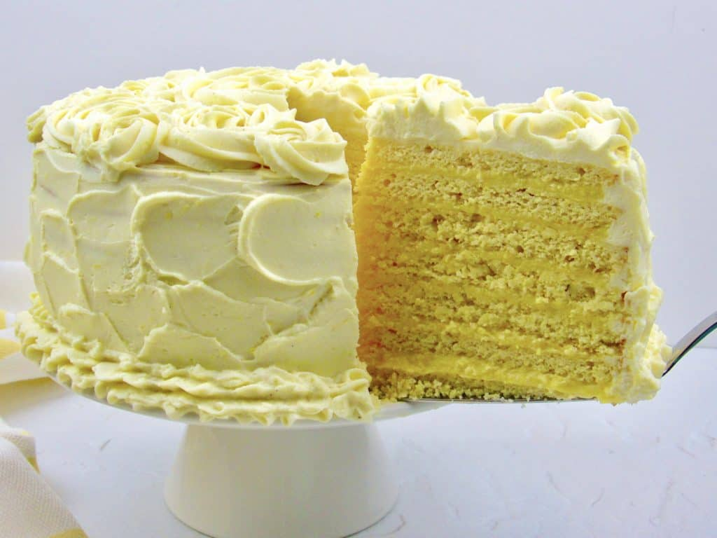 closeup of lemon layer cake
