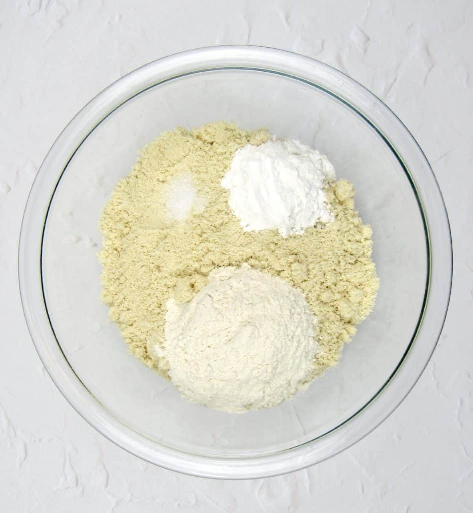 lemon cake dry ingredients in glass bowl