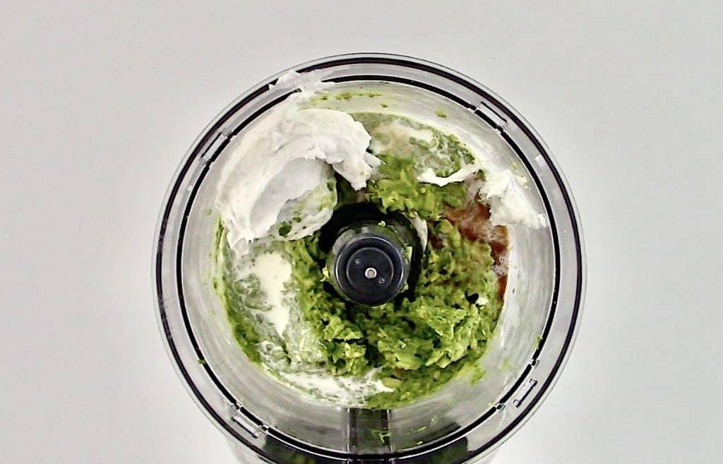 avocado and cream in food processor