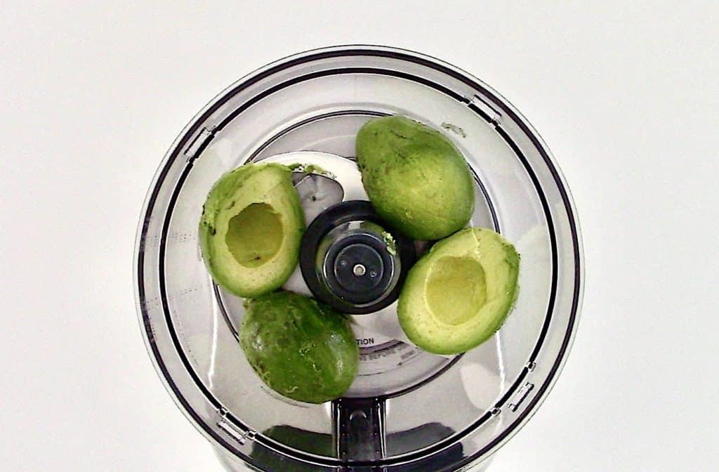 avocado halves in food processor