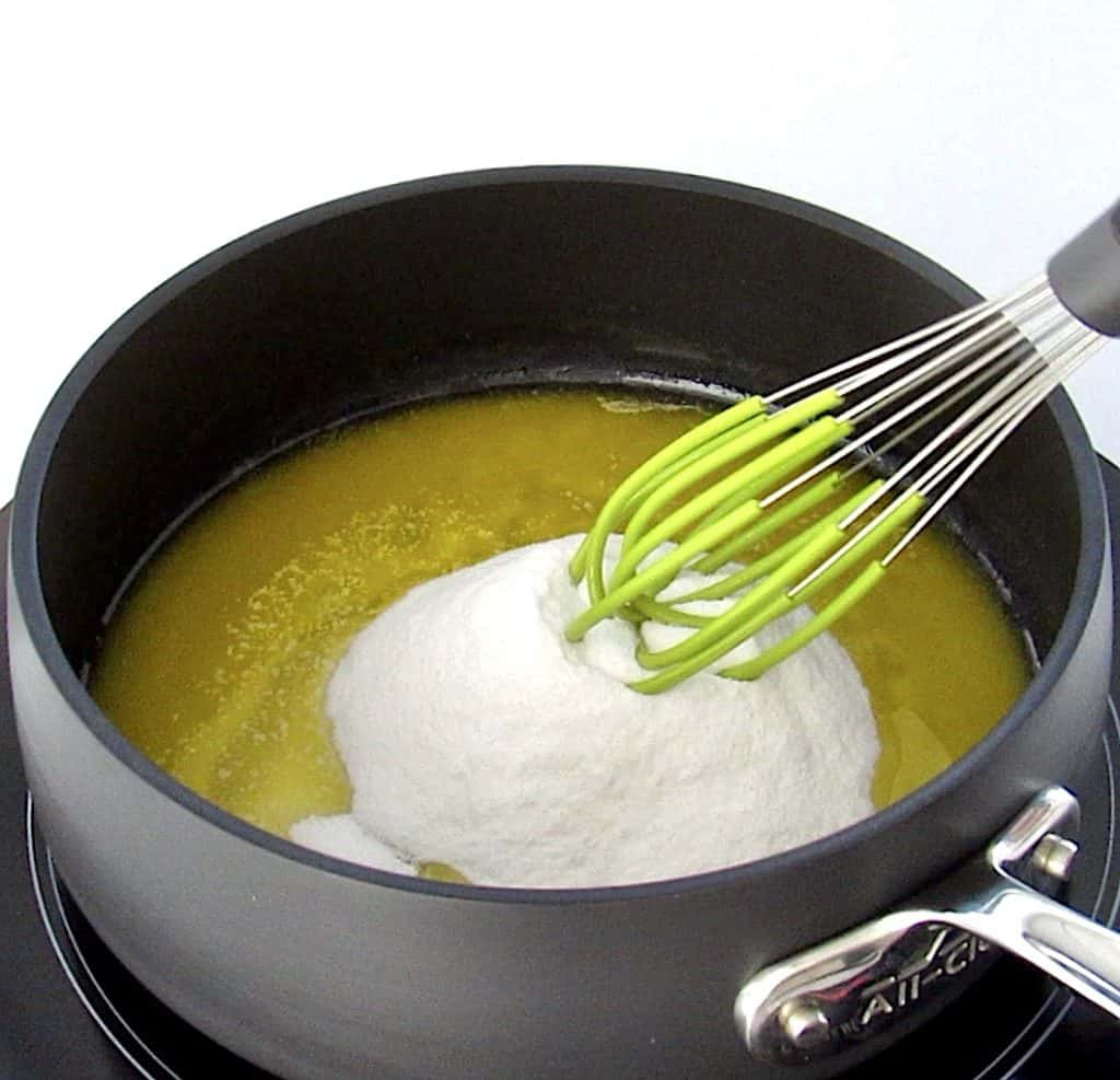 melted butter and sweetener in sauce pan with whisk