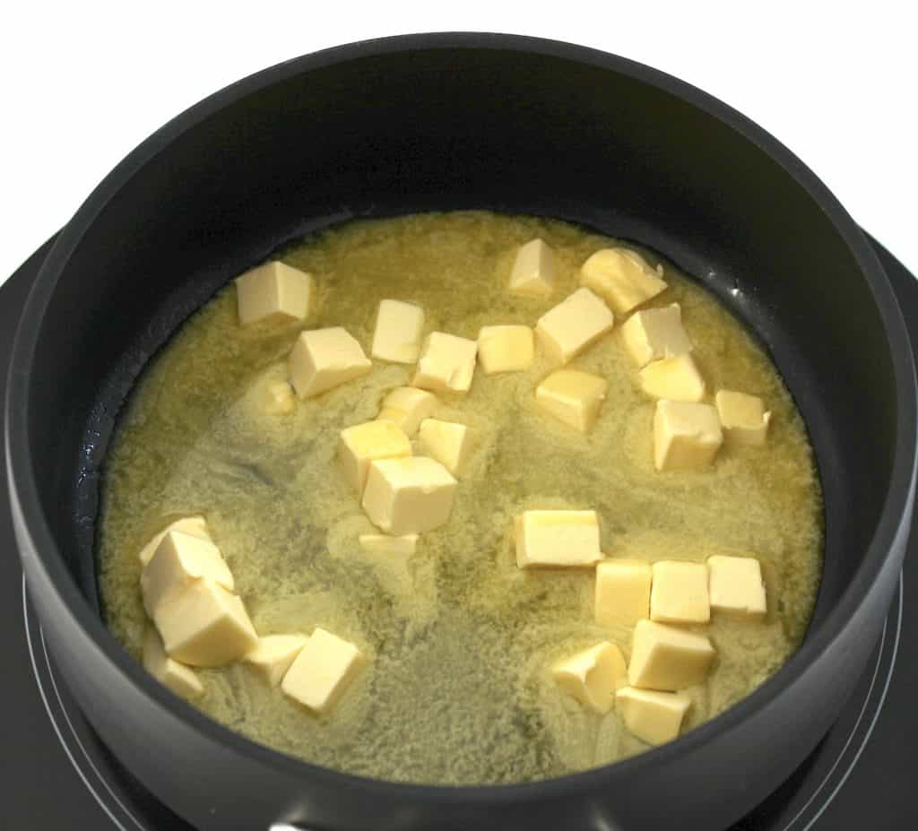 butter melting in sauce pan