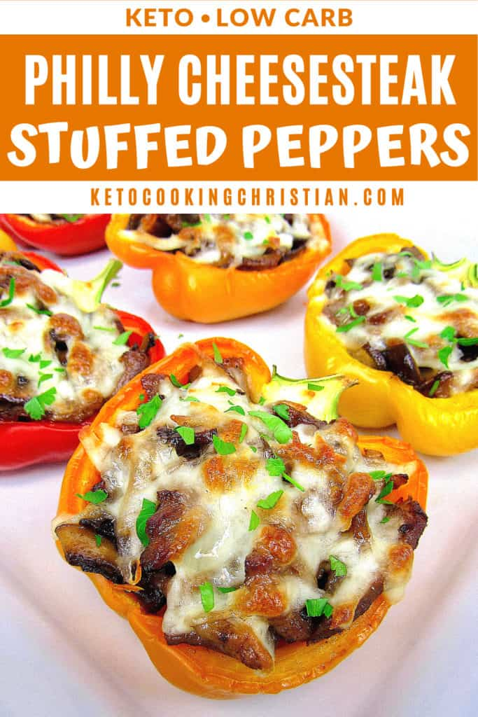 Philly Cheesesteak Keto Stuffed Peppers Pin