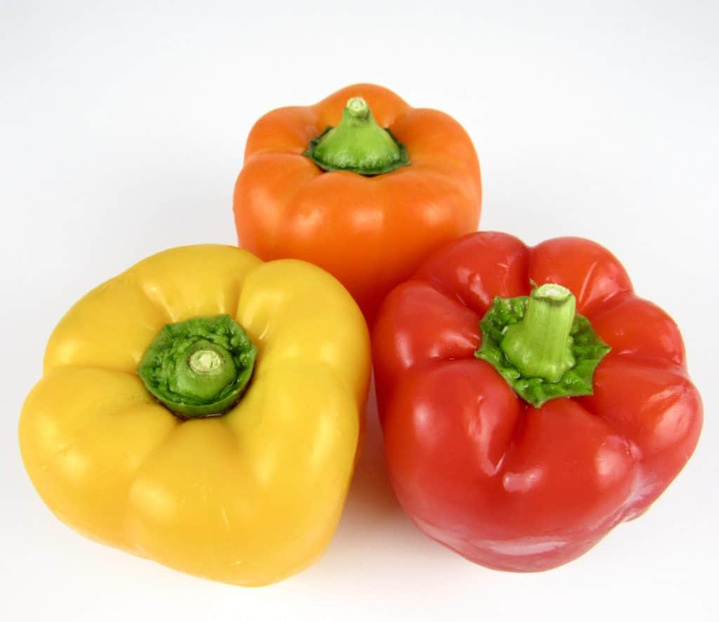 red yellow and orange bell peppers