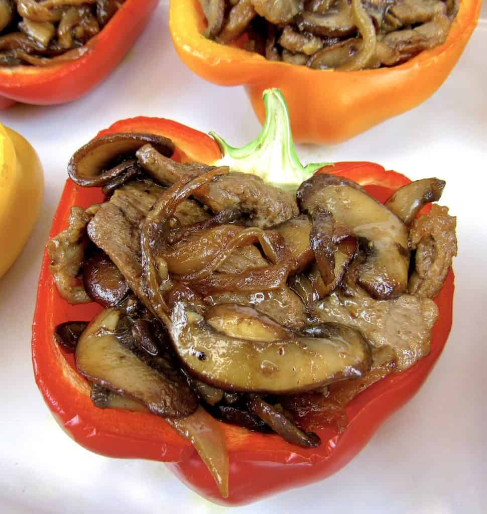 steak mushrooms and onions stuffed in halved red pepper