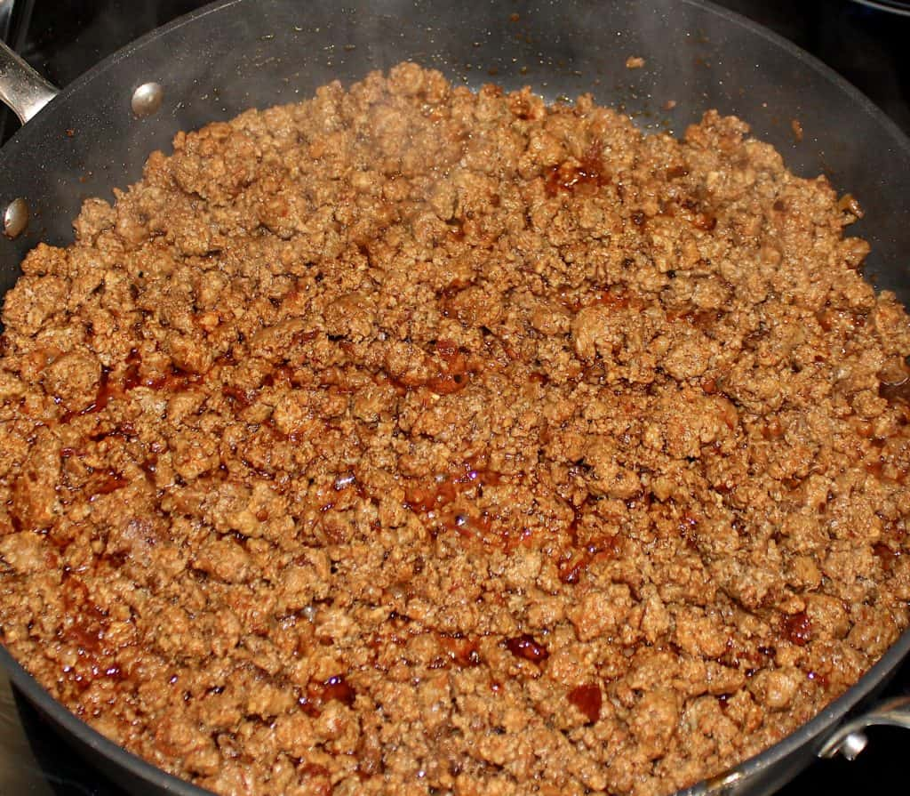 taco meat cooking in skillet