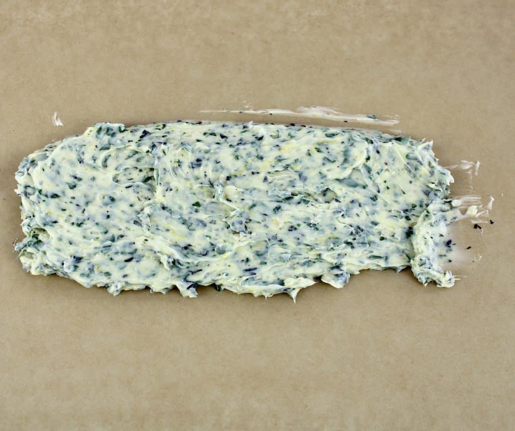 compound butter on parchment paper