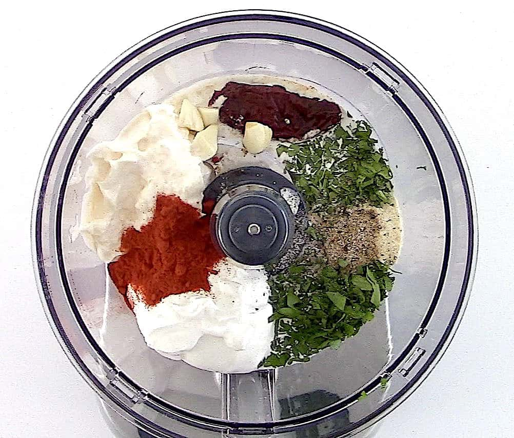 ingredients for Keto Chipotle Ranch Dressing in food processor
