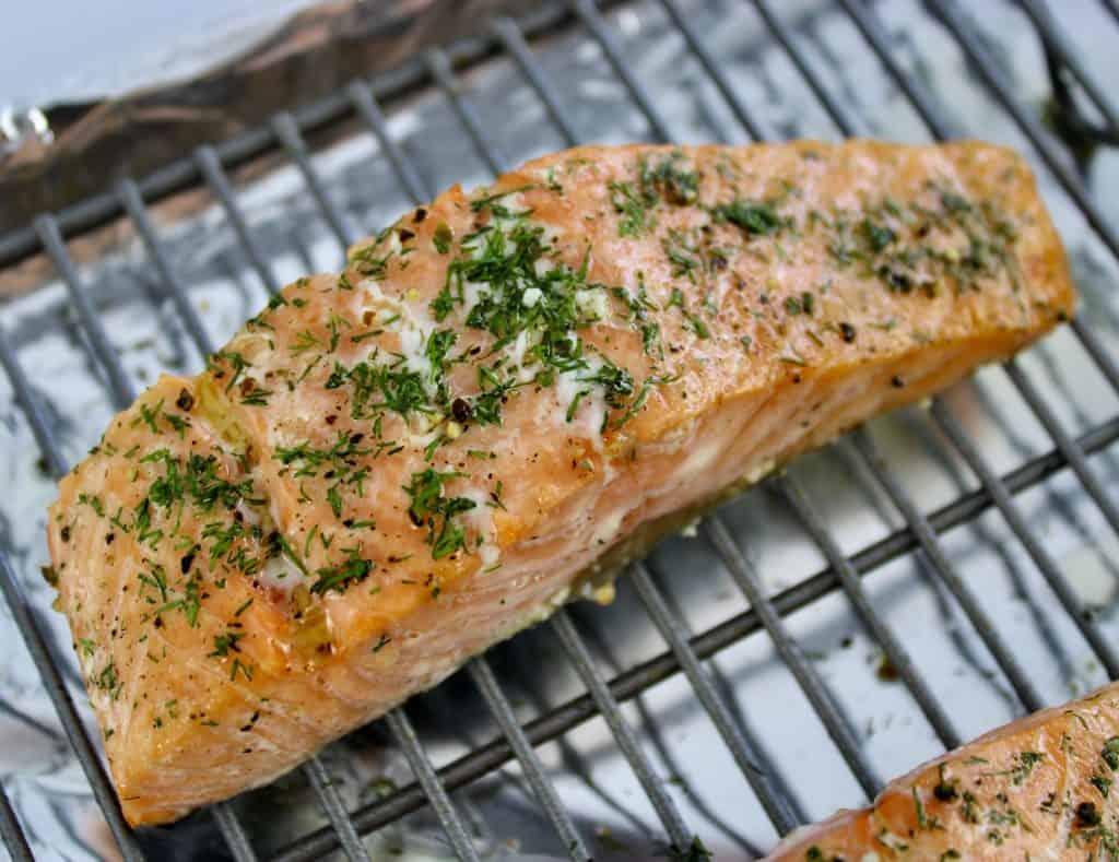 Baked Salmon on baking rack