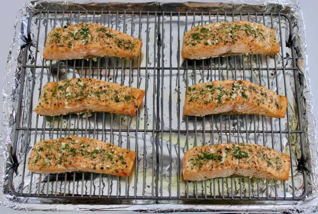 6 pieces of salmon baked on baking rack