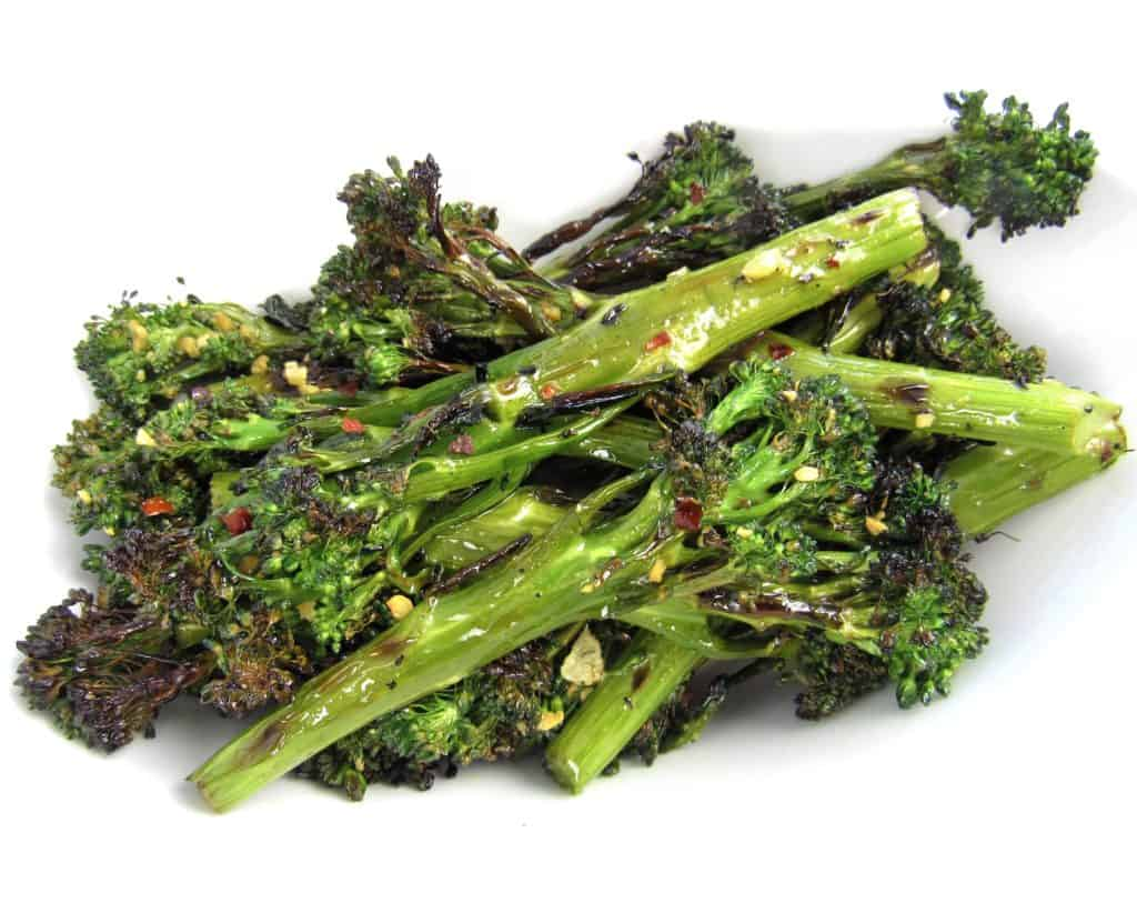 Grilled Broccolini in white bowl