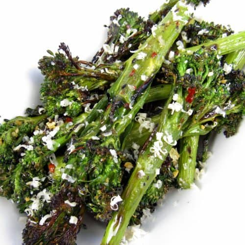 Grilled Broccolini with parmesan cheese on top