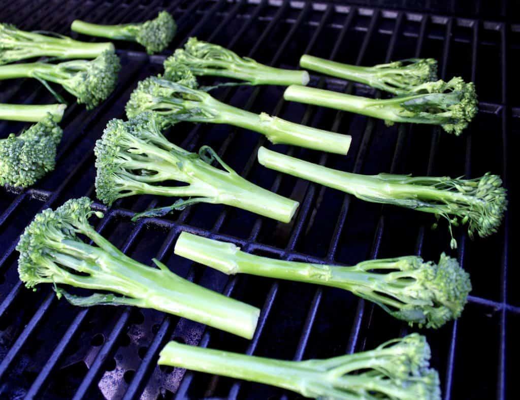 raw broccolini on grill