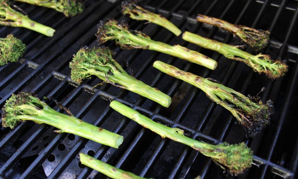 cooked broccolini on grill