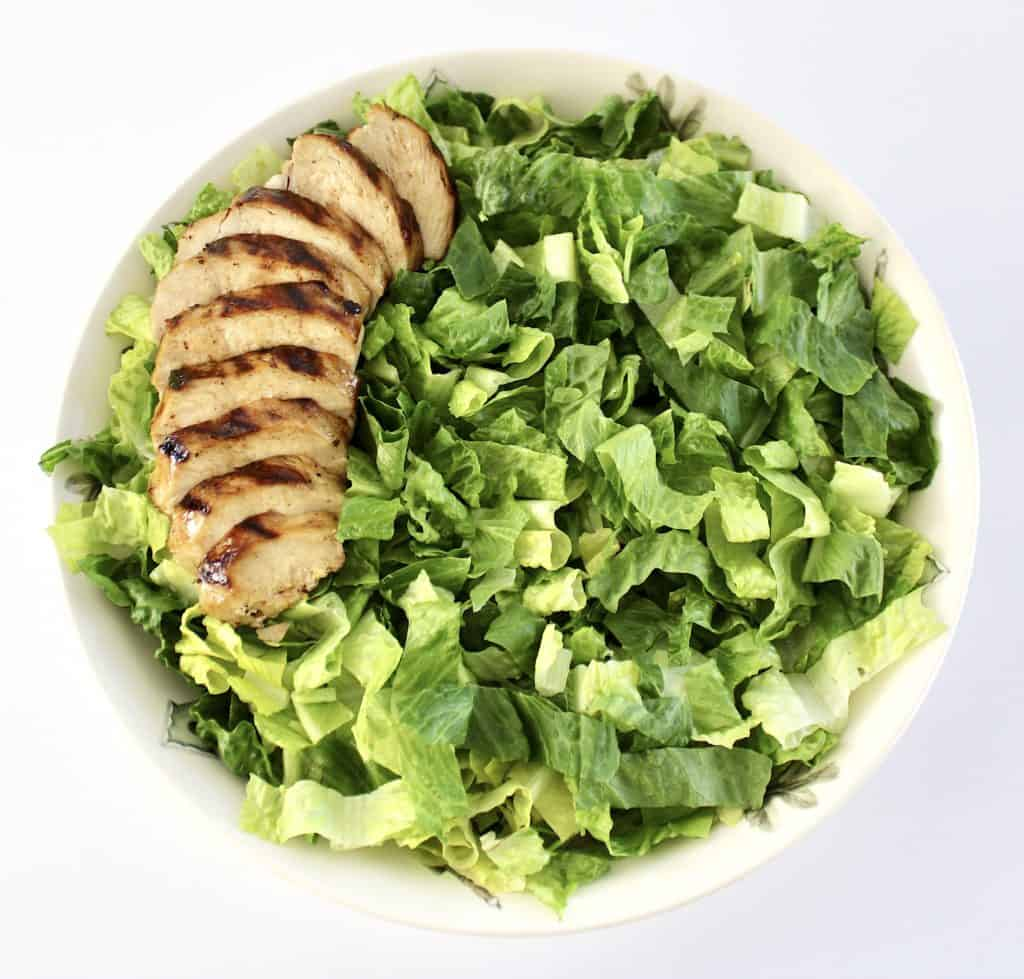 bowl with shredded romaine lettuce with sliced chicken breast on left side
