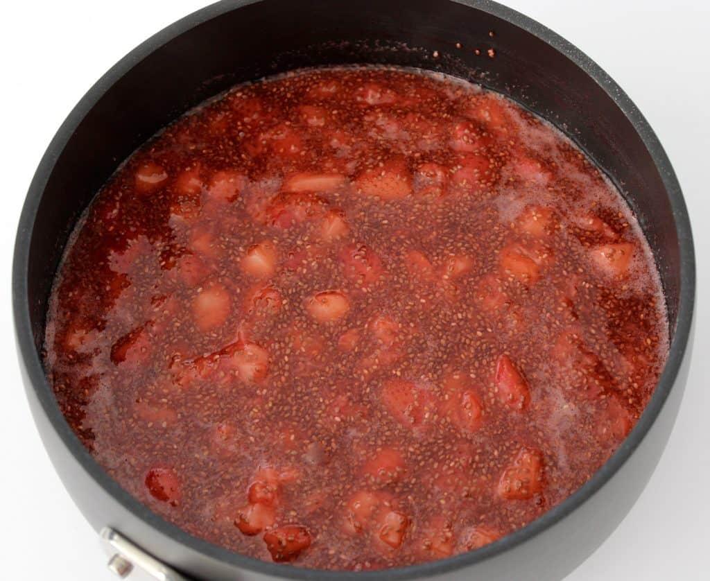 Keto Strawberry Chia Seed Jam in saucepan