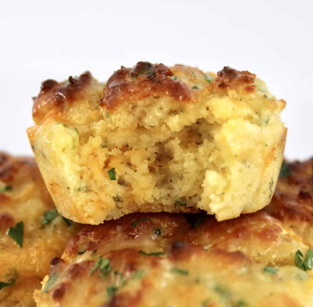 closeup of Cheddar Ranch Keto Biscuit with bite taken out