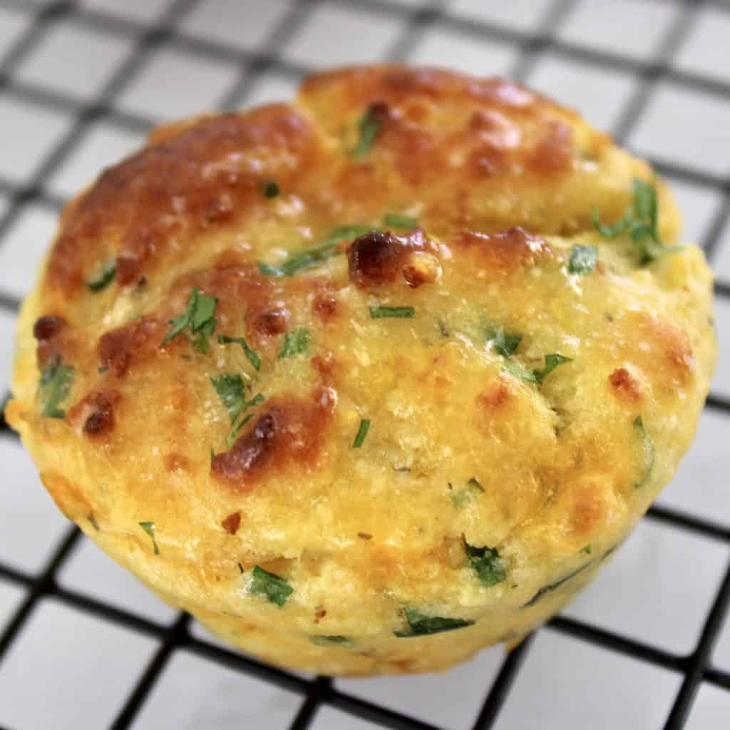 closeup of Cheddar Ranch Keto Biscuit on cooling rack