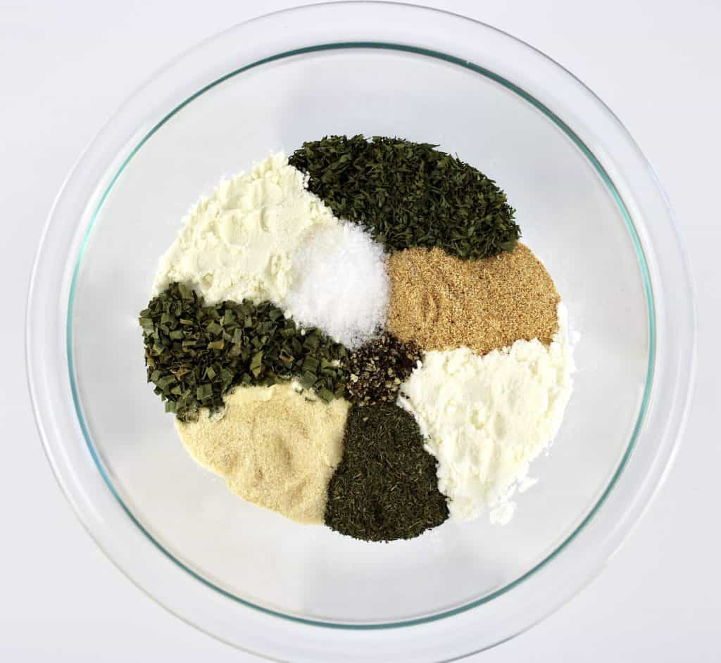 ingredients for Homemade Ranch Seasoning Mix in glass bowl