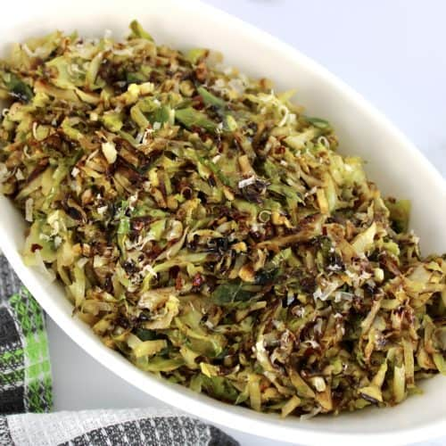 Keto Shredded Brussels Sprouts in white bowl