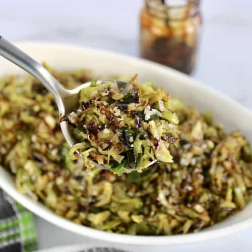 Keto Shredded Brussels Sprouts with some in spoon