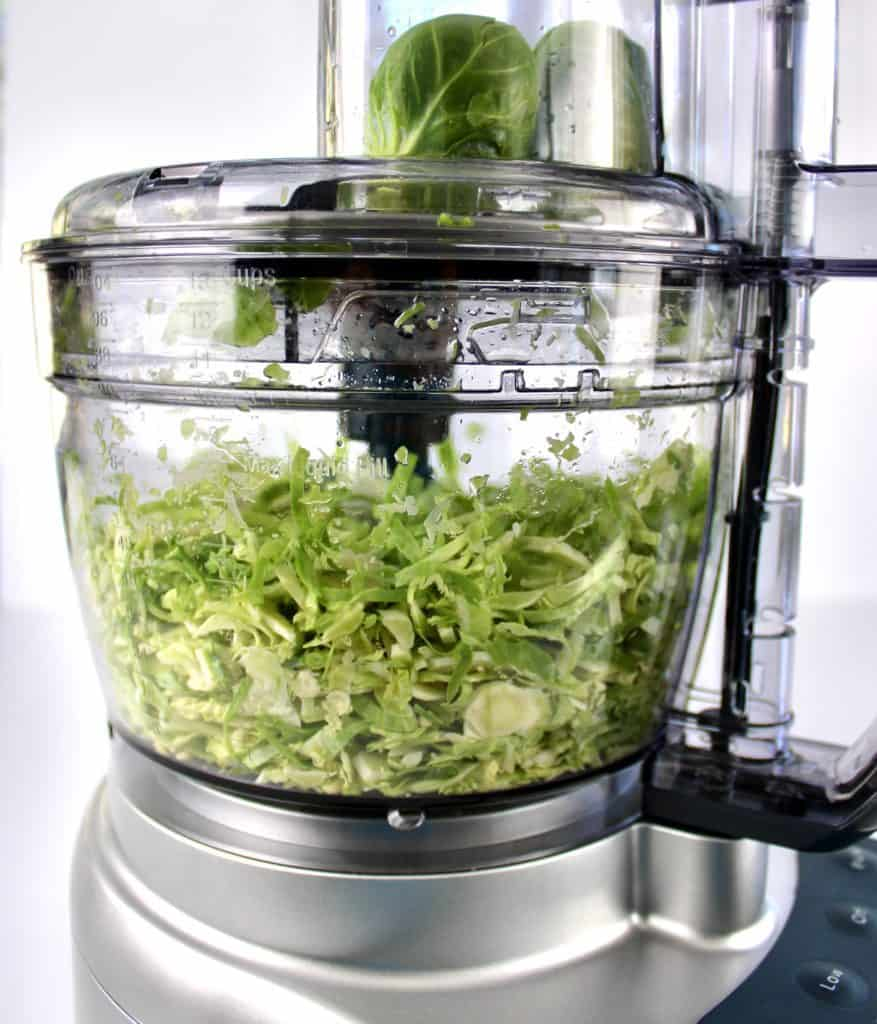shredded brussels sprouts in food processor