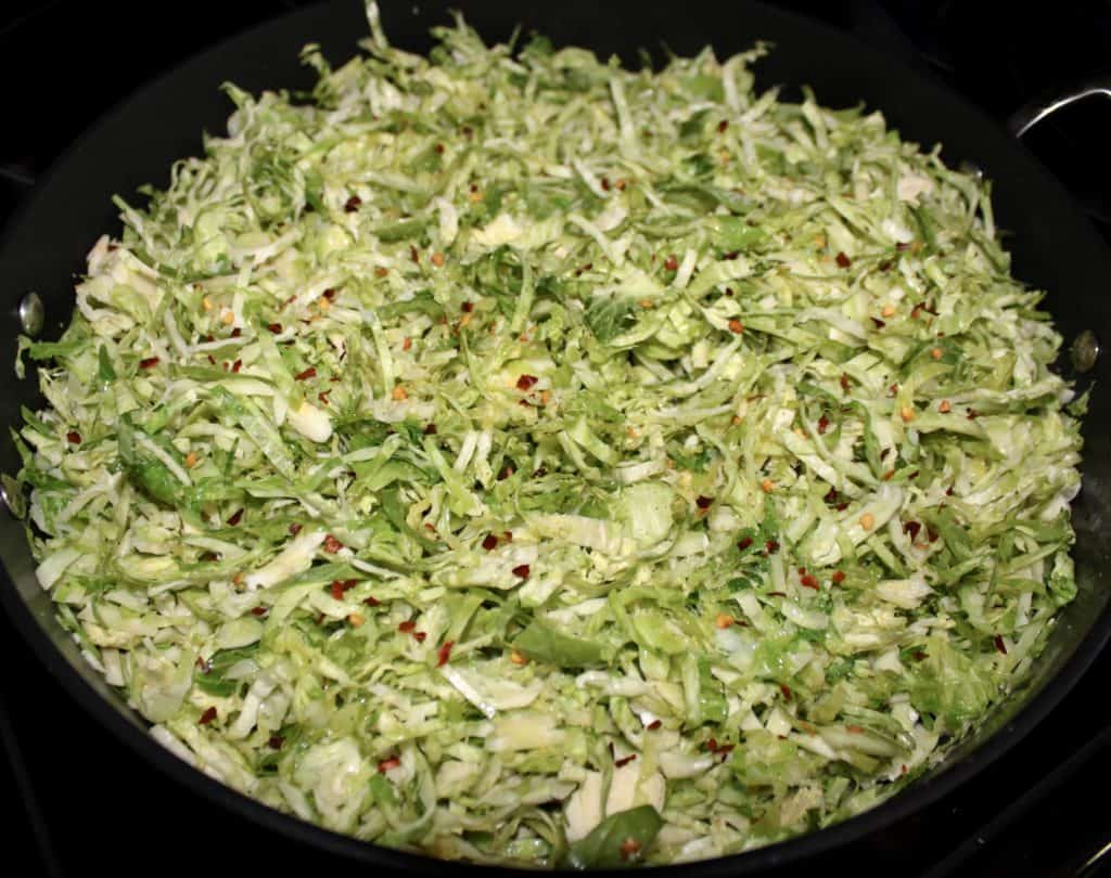 shredded brussels sprouts in skillet