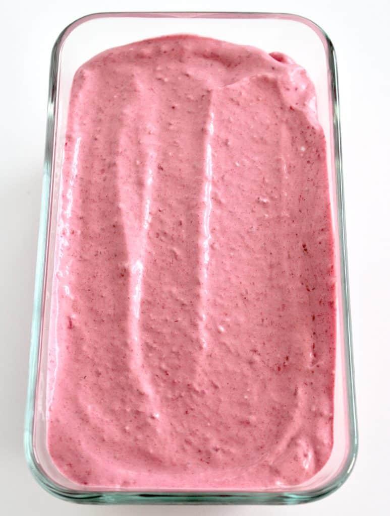 No Churn Raspberry Keto Ice Cream in glass container