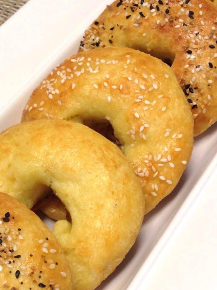 keto bagels closeup on white serving platter