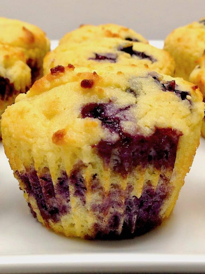 closeup of blueberry muffins