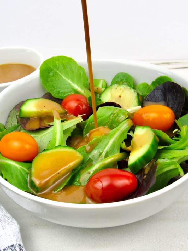 Creamy Balsamic Dressing on Salad in Bowl
