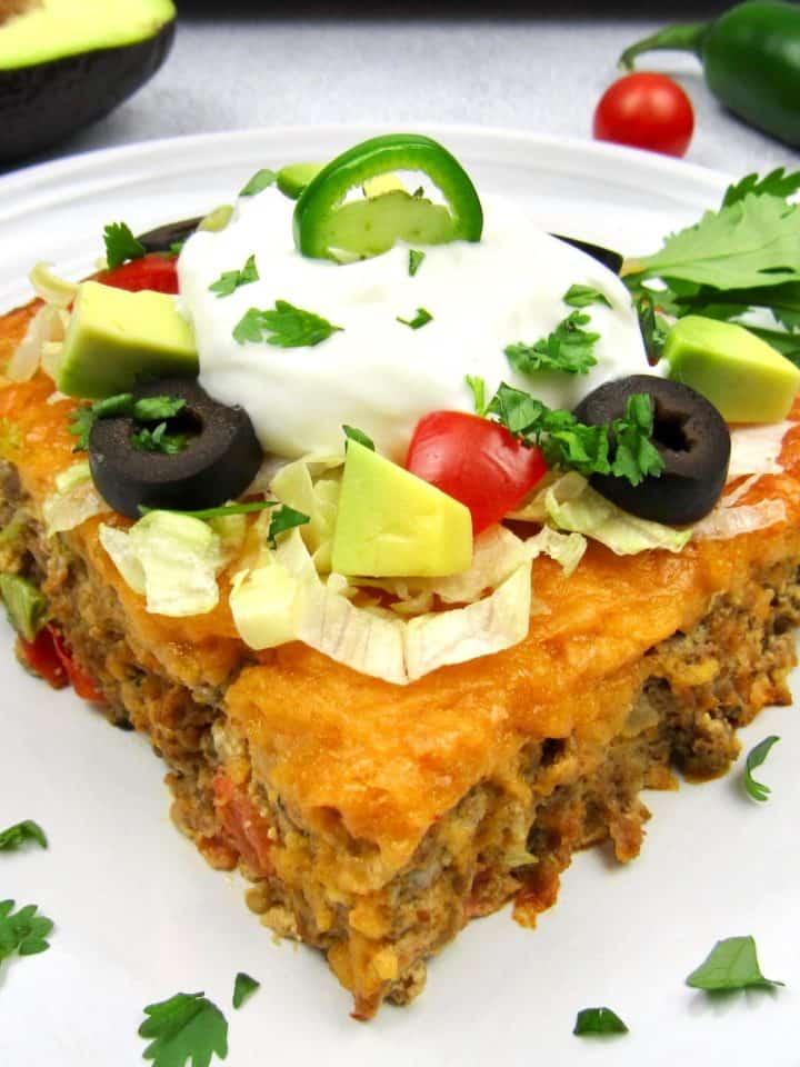 closeup of Easy Taco Casserole on white dish